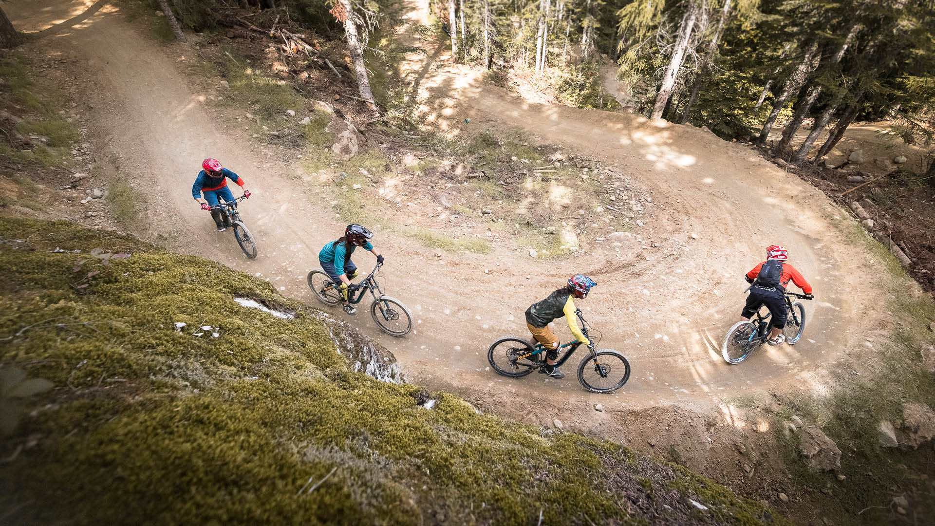 group of beginner bikers in the Bike Park