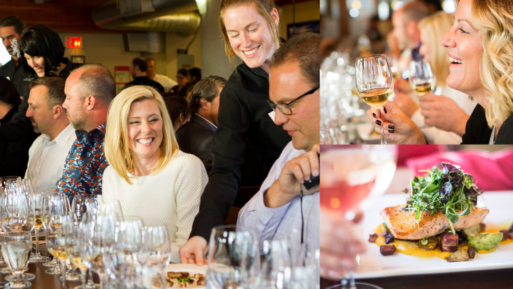 Food, wine and people at a winemakers dinner.