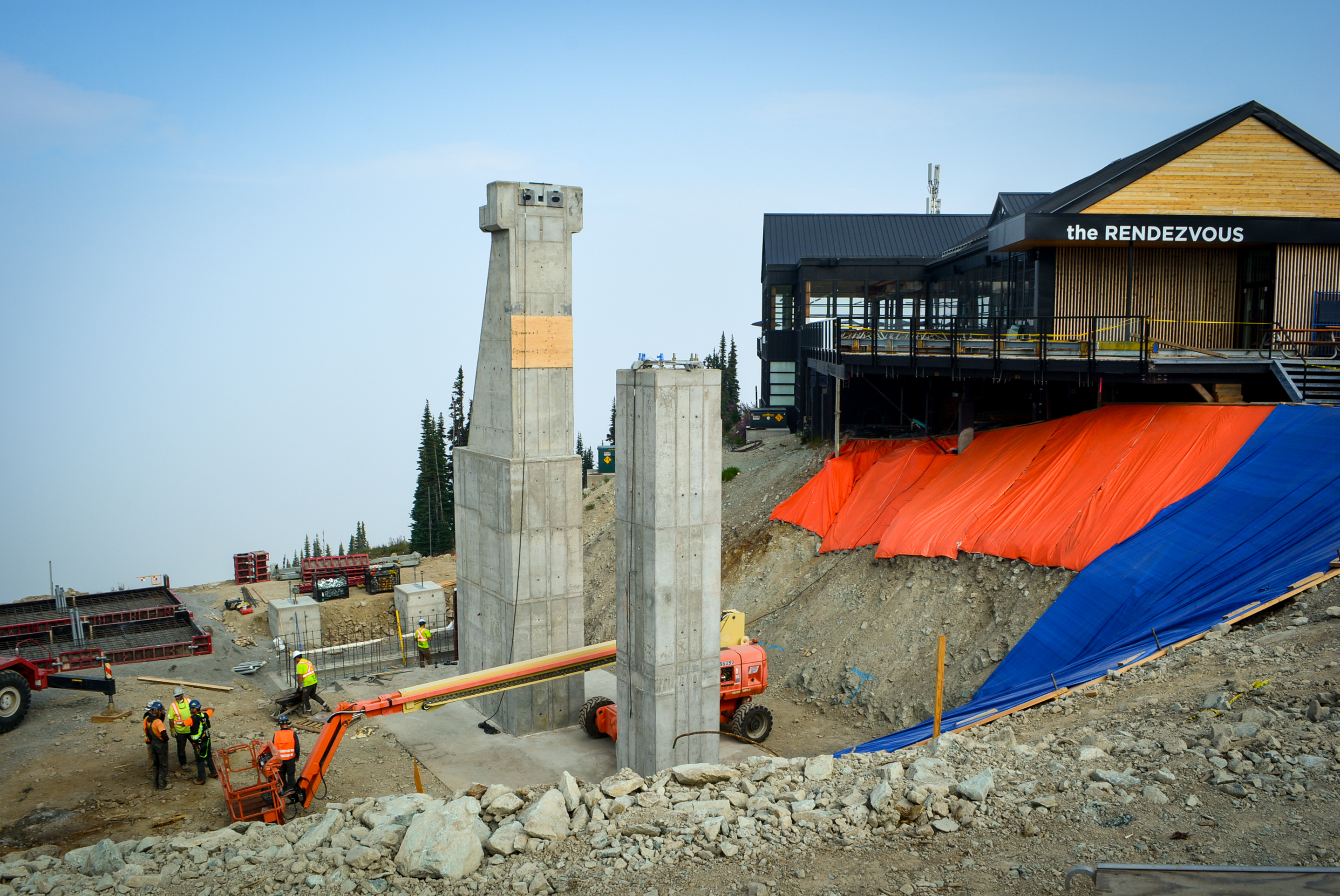 construction at the top of the Blackcomb Gondola