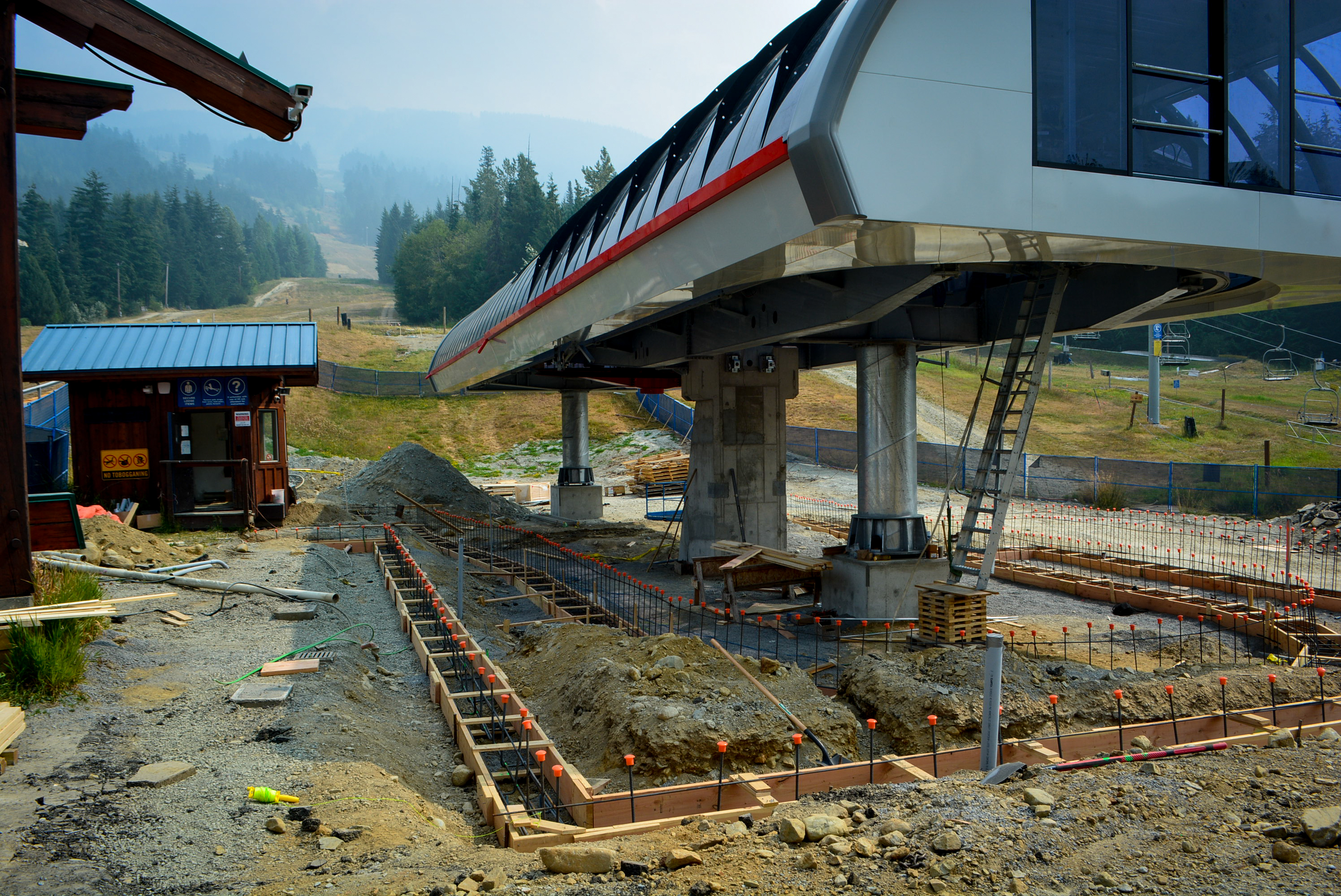 a chairlift under construction