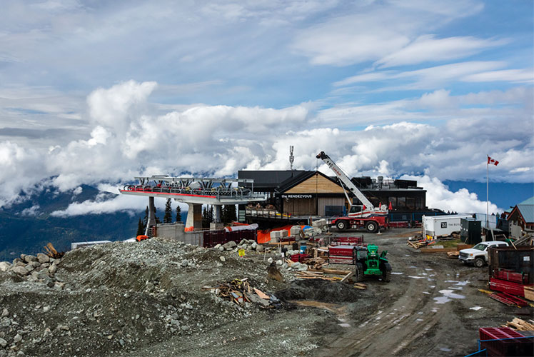 construction site of the top of the gondola directly beside the Rendezvous Lodge